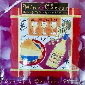 Jennifer Brinley Plates Set 4 Dessert Wine Cheese